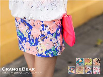 矚目美學~滿版美麗花朵後拉鍊棉質短裙‧7色