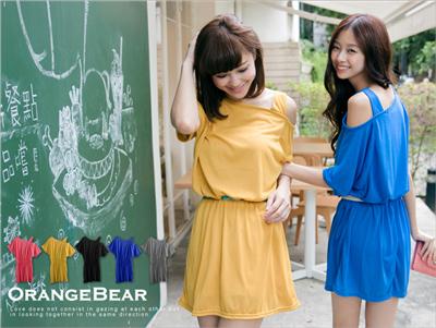 流行主張~單邊露肩造型縮腰棉質洋裝‧5色