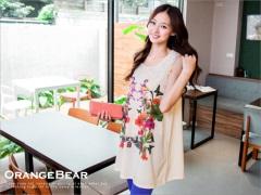 【午茶時光♥洋裝均一價】溫婉氣質~布蕾絲領花朵圖案無袖雪紡洋裝‧2色