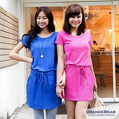 【午餐特賣會】圓領素色抽繩綁帶口袋造型棉質洋裝‧3色