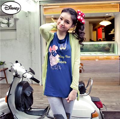 0514新品 迪士尼純棉系列~時尚米妮的美鞋夢長版T恤‧女3色
