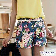 【顯瘦必備‧下著均一價】鮮艷瑰麗印花開衩棉質短褲‧4色