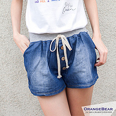 【夏日特賣】排釦造型撞色鬆緊腰圍仿牛仔布綁帶短褲‧2