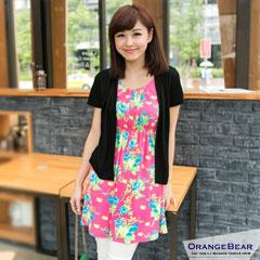 【午餐特賣會】圓點/花朵圖案假兩件式棉質高腰洋裝‧4色 -加