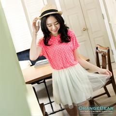 【大碼女孩專屬】連帽圓點拼接網紗裙襬連身長版上衣‧2色