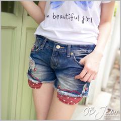【夏日特賣】小瓢蟲造型裝飾刷破抓皺毛邊牛仔短褲