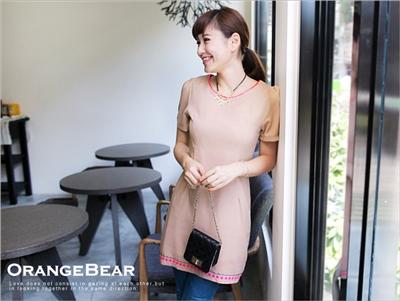 【驚喜折扣♥3件369】迷人感~亮色滾領金屬燙片裝飾洋裝‧2色
