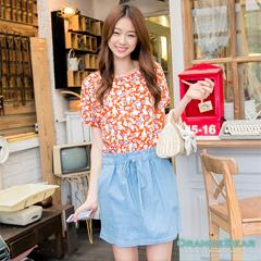 【午餐特賣會】浪漫之季~輕熟感玫瑰印花拼接仿牛仔布連身裙‧2色