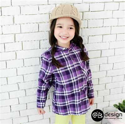 0415新品 柔感純棉法蘭絨系列~仿舊經典格紋連帽襯衫‧童3色