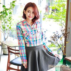 繽紛亮彩~亮眼配色格紋雙口袋棉質襯衫.2色