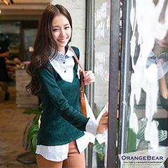 輕玩層次~韓版條紋拼接針織假兩件式長版襯衫‧5色