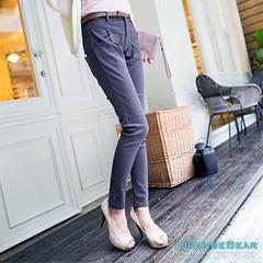 1021新品 黃金比例~附簡約腰帶抓皺感俐落長褲.4色