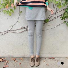 0918新品 俏皮作風~撞色小口袋褲裙造型假兩件式棉質內搭褲‧2色