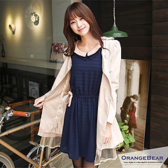 1011新品 淑女品味~雪紡拼接撞色領橫條紋假兩件式洋裝‧2色