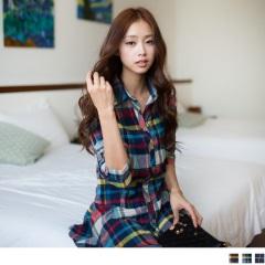 1119新品 英倫女孩~嚴選格紋傘襬造型磨毛棉長版襯衫‧2色