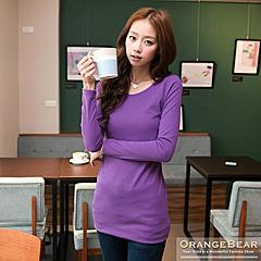 0129新品 流行百搭~大圓領素面修身感長版上衣.5色