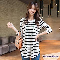 0128新品 自然原味~橫條紋布蕾絲滾邊口袋棉質長版上衣‧2色