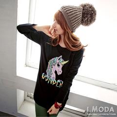 1024新品 頑皮主張~超CUTE彩虹小馬圓領長版T恤‧2色