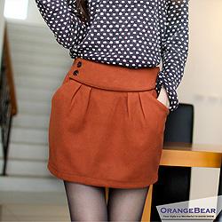 1023新品 暖呼呼~雙釦彈性腰圍厚毛呢料短裙.3色