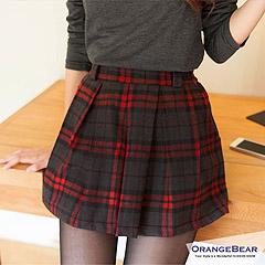 1021新品 英倫風尚~經典格紋打摺傘擺細做工剪裁褲裙‧3色