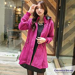 0217新品 注目修瘦~嚴選厚刷毛連帽長版大衣外套.3色