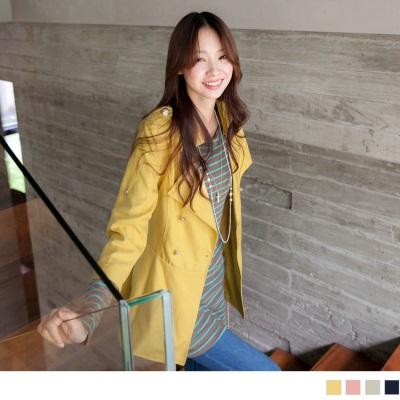 0304新品 高雅俐落~嚴選OL翻領雙排釦附腰帶長版西裝外套.4色