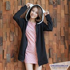 0216新品 淘氣甜心~可愛絨毛小耳朵造型連帽內刷毛長版外套‧3色