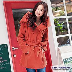 1120新品 暖暖環抱~嚴選大連帽雙排釦綁帶毛呢長版外套.2色