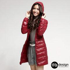 0929新品 特級極輕羽絨系列~連帽修身長版羽絨外套‧女5色