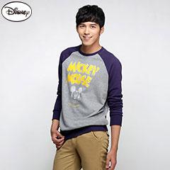 0915新品 迪士尼輕暖衛衣系列~斑駁字母微笑米奇棒球T恤‧男3色