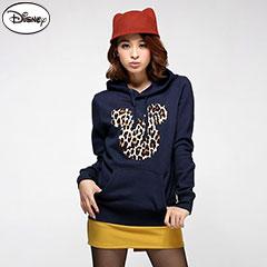 1013新品  迪士尼厚刷毛系列~豹紋米奇口袋連帽T恤‧女3色-aw