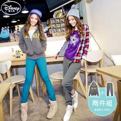 【歡樂加倍.迪士尼】 迪士尼厚刷毛系列~米奇字母外套+長褲套裝‧女3色-促