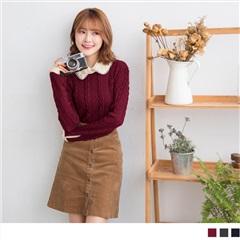 1020新品 知性魅力~娃娃領後挖洞造型粗麻花針織上衣.3色