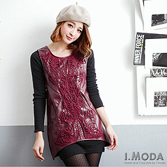 1119新品 時髦女人~鏤空蕾絲飾皮革拼接兩面材質無袖上衣‧2色