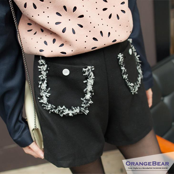 優質淑女~立體小蝴蝶結滾邊造型口袋毛呢短褲?3色