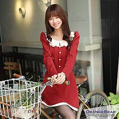1113新品 微甜奢華~鏤空花瓣領公主袖嚴選洋裝.2色