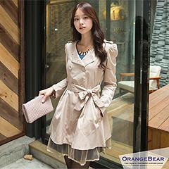 1030新品 時尚名媛~嚴選韓板雙排釦蕾絲拼接公主袖長版外套‧3色