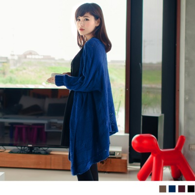 隨性美學~優雅嚴選針織花紋開襟長版罩衫/外套‧4色