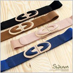 1014新品【特價款】時尚品格~半弧形金屬釦環造型裝飾彈性鬆緊腰帶‧4色