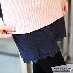 0106新品 優雅小姐~氣質感布蕾絲拼接絨面短褲‧3色