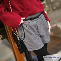 1021新品 個性淑女~蝴蝶結假腰帶裝飾皮繩滾邊口袋短褲‧4色