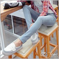 0529新品 搖滾少女~撞色鉚釘微破損感淺藍刷色嚴選韓版牛仔窄管褲