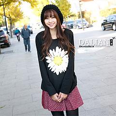 1129新品 甜美清純~小清新感雛菊圖案圓領洋裝‧3色