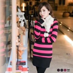 1121新品 焦點女孩~橫條紋船型領保暖內刷毛上衣/洋裝.4色