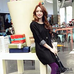 1020新品 個性丰采~金屬星星裝飾格紋反折袖洋裝‧2色