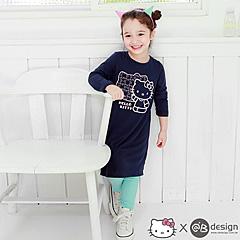 0915新品 HELLOKITTY保暖升溫~大頭拼圖洋裝‧童3色