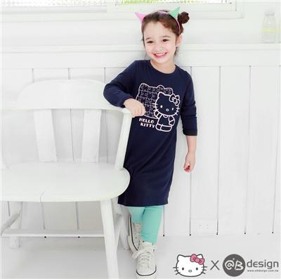 0415新品 HELLOKITTY保暖升溫~大頭拼圖洋裝‧童3色