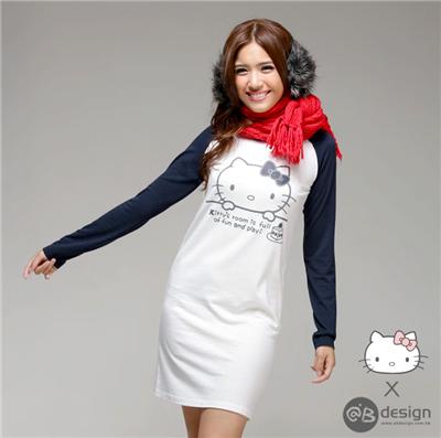 0306新品 HELLOKITTY保暖升溫~大臉棒球長洋裝‧女3色