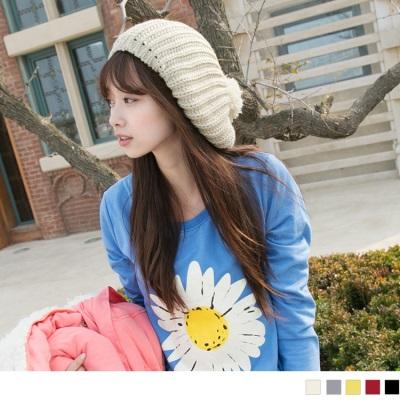 1027新品 【特價款】 甜美俏皮~可愛大毛球造型貝雷帽/毛線帽•5色