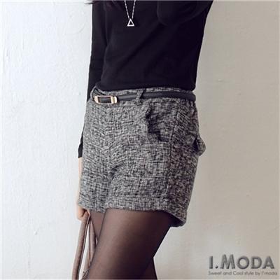 【大碼女孩專屬】質感品味~雜訊感混色毛呢反折短褲‧2色